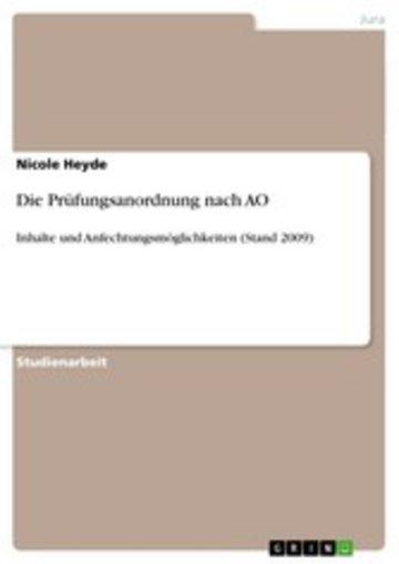 eBook Die Prüfungsanordnung nach AO Cover