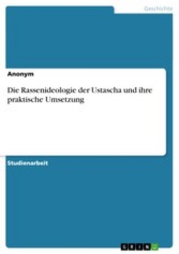 eBook Die Rassenideologie der Ustascha und ihre praktische Umsetzung Cover
