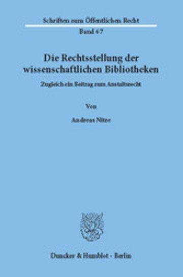 eBook Die Rechtsstellung der wissenschaftlichen Bibliotheken. Cover