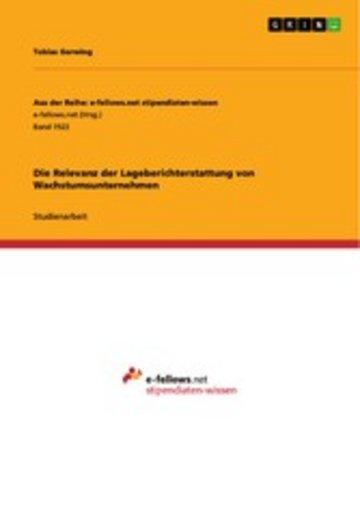 eBook Die Relevanz der Lageberichterstattung von Wachstumsunternehmen Cover