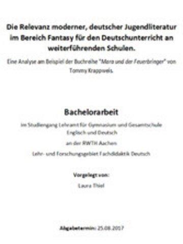 eBook Die Relevanz moderner, deutscher Jugendliteratur im Bereich Fantasy für den Deutschunterricht an weiterführenden Schulen Cover