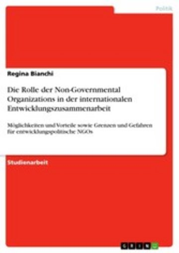 eBook Die Rolle der Non-Governmental Organizations in der internationalen Entwicklungszusammenarbeit Cover
