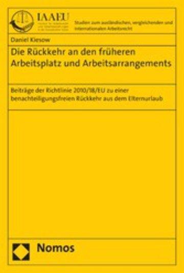 eBook Die Rückkehr an den früheren Arbeitsplatz und Arbeitsarrangements Cover