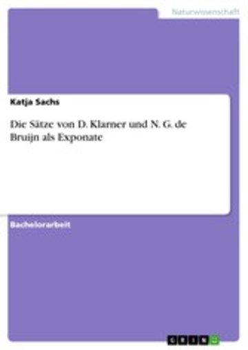 eBook Die Sätze von D. Klarner und N. G. de Bruijn als Exponate Cover