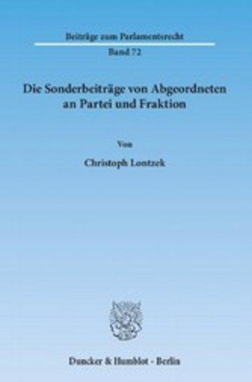 eBook Die Sonderbeiträge von Abgeordneten an Partei und Fraktion. Cover