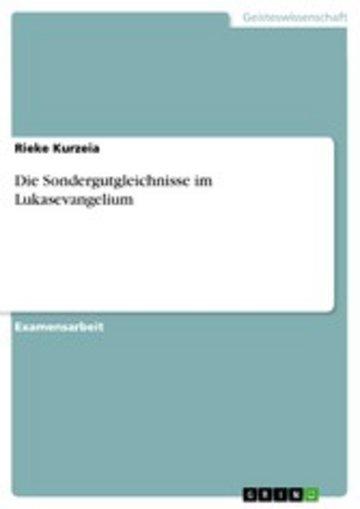 eBook Die Sondergutgleichnisse im Lukasevangelium Cover