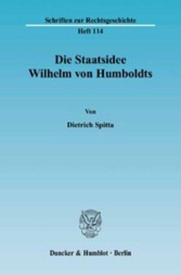 eBook Die Staatsidee Wilhelm von Humboldts. Cover