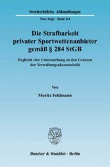eBook Die Strafbarkeit privater Sportwettenanbieter gemäß § 284 StGB. Cover