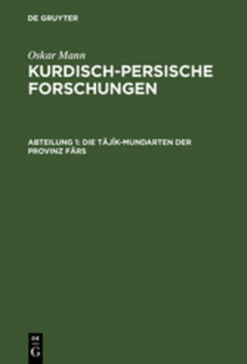eBook Die Tâjîk-Mundarten der Provinz Fârs Cover