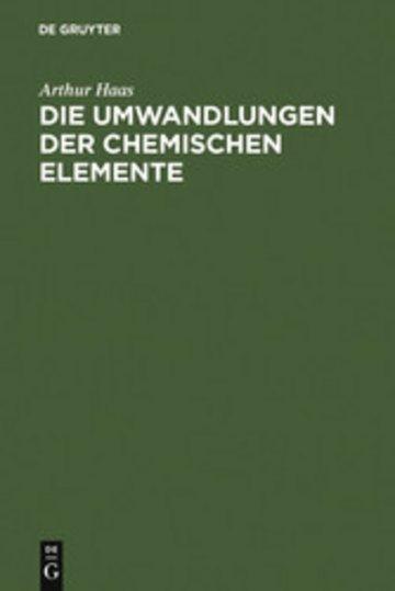 eBook Die Umwandlungen der chemischen Elemente Cover