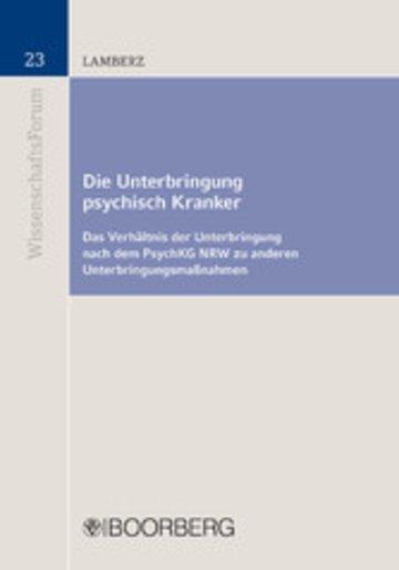 eBook Die Unterbringung psychisch Kranker Cover