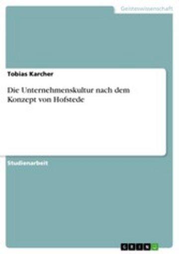 eBook Die Unternehmenskultur nach dem Konzept von Hofstede Cover