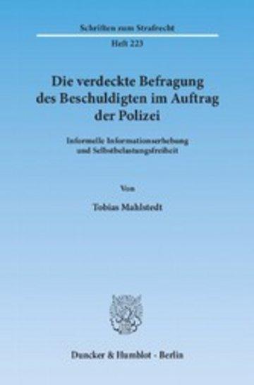eBook Die verdeckte Befragung des Beschuldigten im Auftrag der Polizei. Cover