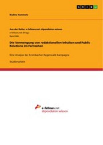 eBook Die Vermengung von redaktionellen Inhalten und Public Relations im Fernsehen Cover