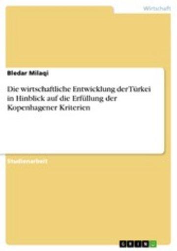 eBook Die wirtschaftliche Entwicklung der Türkei in Hinblick auf die Erfüllung der Kopenhagener Kriterien Cover