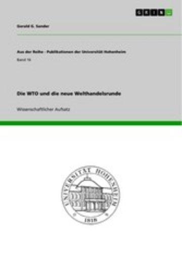 eBook Die WTO und die neue Welthandelsrunde Cover
