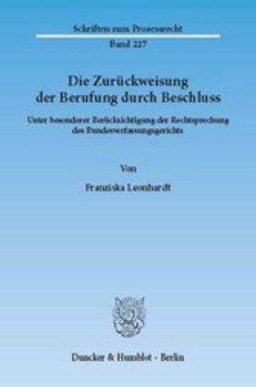 eBook Die Zurückweisung der Berufung durch Beschluss. Cover