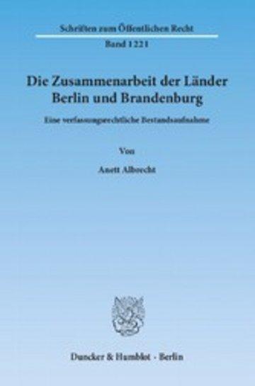 eBook Die Zusammenarbeit der Länder Berlin und Brandenburg. Cover