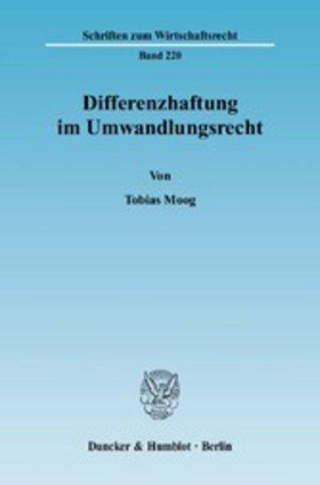 eBook Differenzhaftung im Umwandlungsrecht. Cover