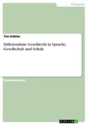 eBook Differenzlinie Geschlecht in Sprache, Gesellschaft und Schule Cover