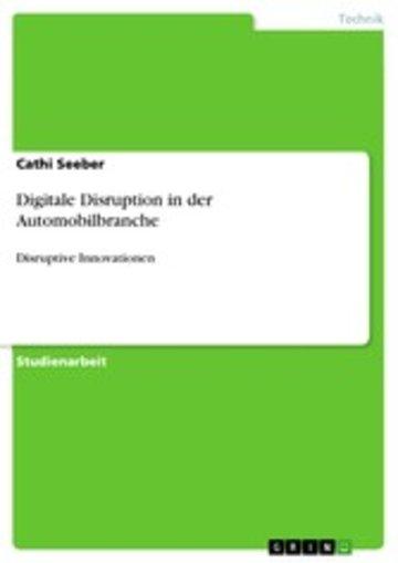 eBook Digitale Disruption in der Automobilbranche Cover