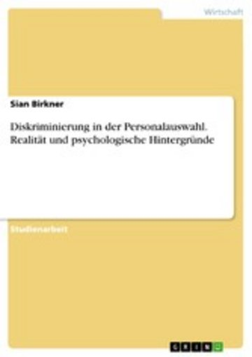 eBook Diskriminierung in der Personalauswahl. Realität und psychologische Hintergründe Cover