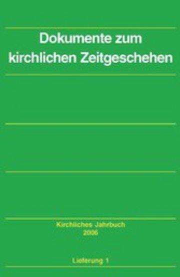 eBook Dokumente zum kirchlichen Zeitgeschehen - Kirchliches Jahrbuch, Jg. 133, Lfg. 1 Cover
