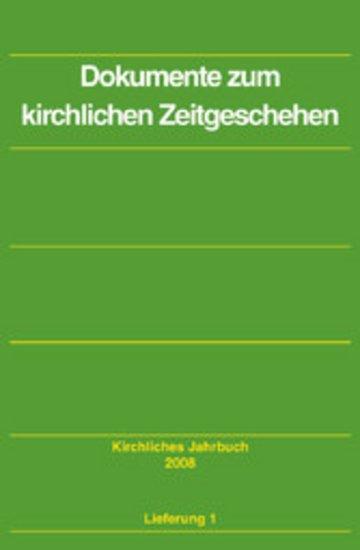 eBook Dokumente zum kirchlichen Zeitgeschehen - Kirchliches Jahrbuch, Jg. 135, Lfg. 1 Cover