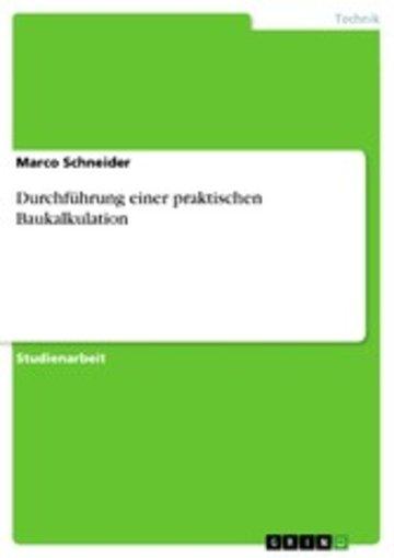 eBook Durchführung einer praktischen Baukalkulation Cover