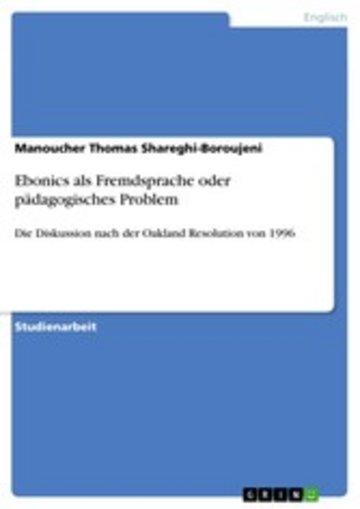 eBook Ebonics als Fremdsprache oder pädagogisches Problem Cover
