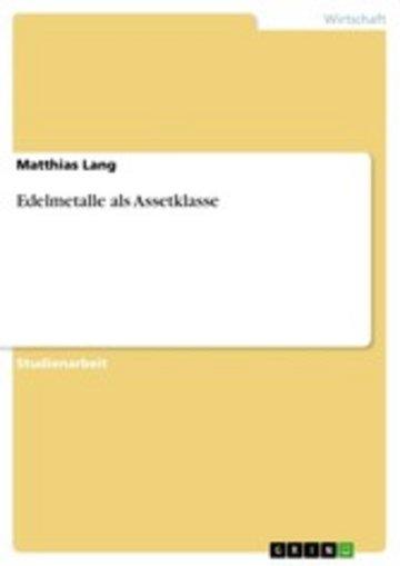 eBook Edelmetalle als Assetklasse Cover