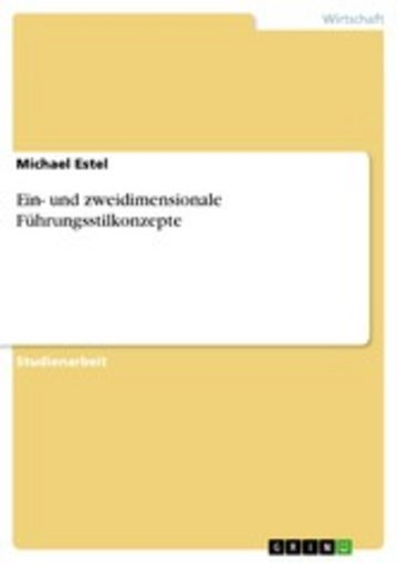 eBook Ein- und zweidimensionale Führungsstilkonzepte Cover
