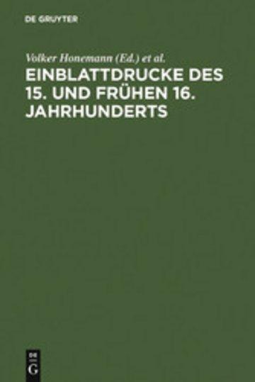 eBook Einblattdrucke des 15. und frühen 16. Jahrhunderts Cover