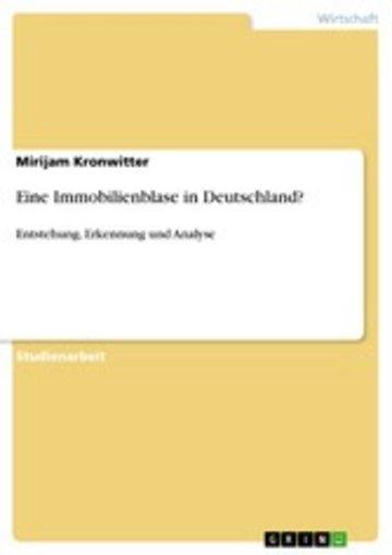 eBook Eine Immobilienblase in Deutschland? Cover