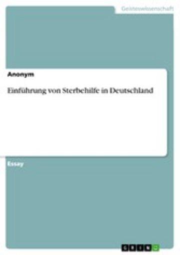 eBook Einführung von Sterbehilfe in Deutschland Cover