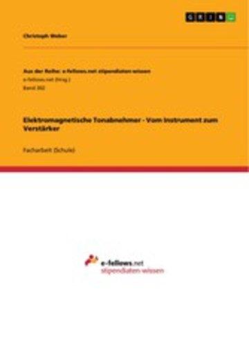 eBook Elektromagnetische Tonabnehmer - Vom Instrument zum Verstärker Cover