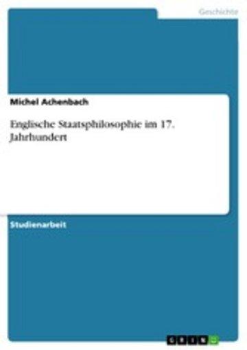 eBook Englische Staatsphilosophie im 17. Jahrhundert Cover