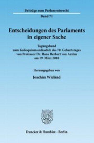 eBook Entscheidungen des Parlaments in eigener Sache. Cover