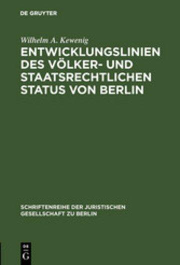 eBook Entwicklungslinien des völker- und staatsrechtlichen Status von Berlin Cover