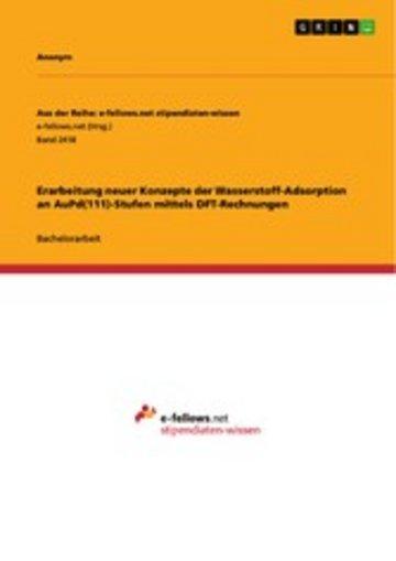 eBook Erarbeitung neuer Konzepte der Wasserstoff-Adsorption an AuPd(111)-Stufen mittels DFT-Rechnungen Cover