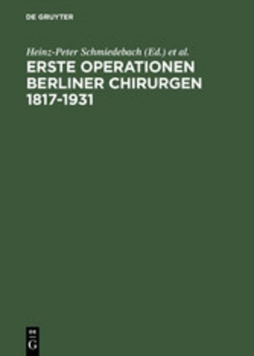 eBook Erste Operationen Berliner Chirurgen 1817-1931 Cover