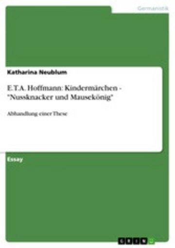 eBook E.T.A. Hoffmann: Kindermärchen - 'Nussknacker und Mausekönig' Cover