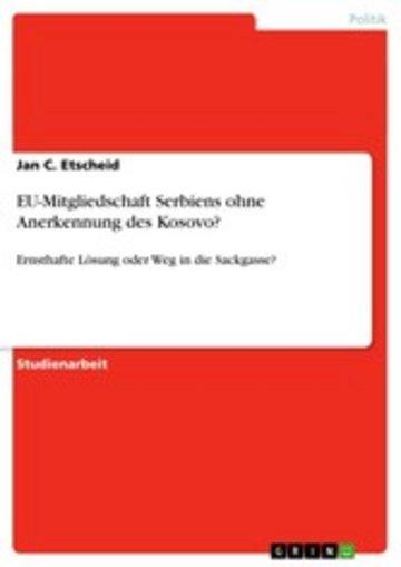eBook EU-Mitgliedschaft Serbiens ohne Anerkennung des Kosovo? Cover
