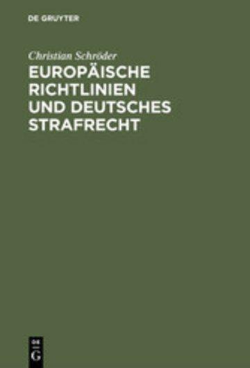 eBook Europäische Richtlinien und deutsches Strafrecht Cover