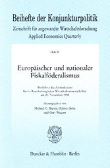 eBook Europäischer und nationaler Fiskalföderalismus. Cover