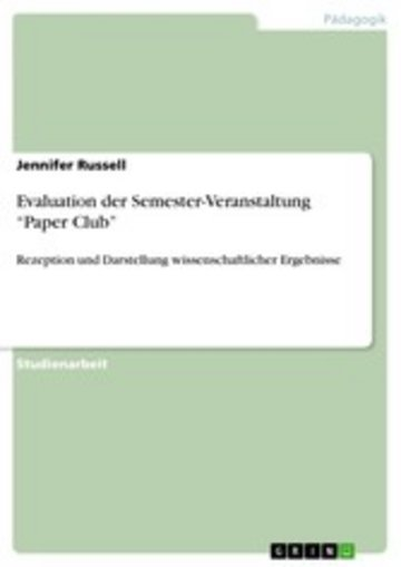 eBook Evaluation der Semester-Veranstaltung 'Paper Club' Cover