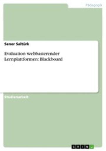 eBook Evaluation webbasierender Lernplattformen: Blackboard Cover