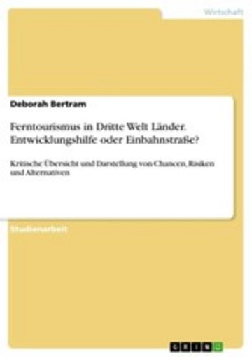 eBook Ferntourismus in Dritte Welt Länder. Entwicklungshilfe oder Einbahnstraße? Cover