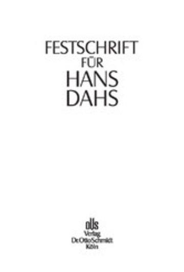 eBook Festschrift für Hans Dahs Cover