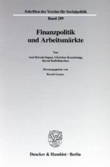 eBook Finanzpolitik und Arbeitsmärkte. Cover